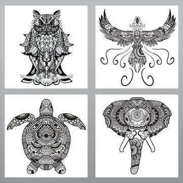 pack of animal mandala, owl mandala design, phoenix mandala design, turtle mandala design, elephant mandala design, set of 4 circular pattern animal, high detail mandala animal pattern