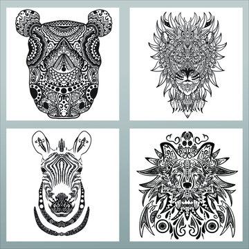 pack of animal mandala, rhino mandala design, lion mandala design, zebra mandala design, wolf mandala design, set of 4 circular pattern animal, high detail mandala animal pattern