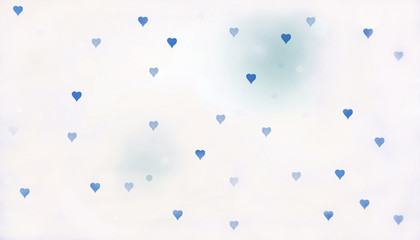 wall paper design with white background and small blue hearts for baby shower or fathers day Fototapete