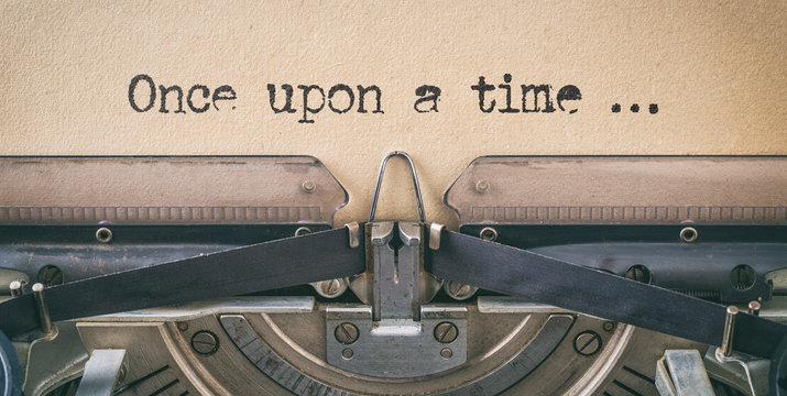 Text written with a vintage typewriter -  once upon a time