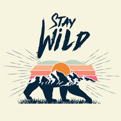 Walking bear silhouette with mountains landscape double exposure effect and stay wild caption. Wild nature concept. Vector illustration.