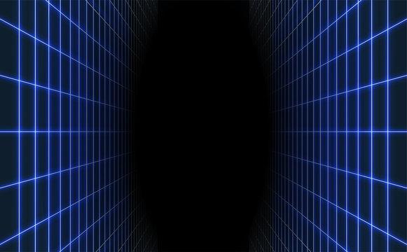 Abstract blue laser grid background. Retro futuristic vector illustration.