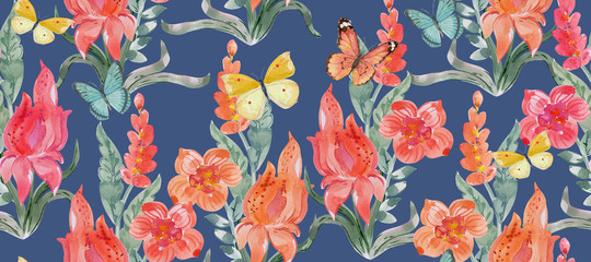 retro seamless texture with cute bouquets of orange fancy flowers and flying butterflies. watercolor painting