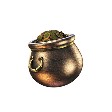 Shamrock. St. Patrick's Day symbols pot of gold background. Patrick Day coins with shamrock leaf. Patrick Day pub party.