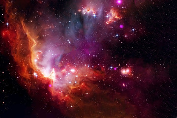 The cosmic nebula is red. Elements of this image were furnished by NASA.