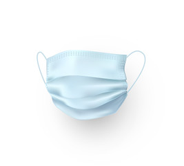 Mask isolated on white background. Vector blue medical doctor, surgical, safety breathing element mockup. 3d virus, dust or air pollution face protection..