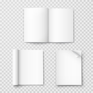 Magazine set template isolated on transparent background. Vector open blank book, catalog or brochure with turned sheets. Booklets with rolled white paper pages mockup..