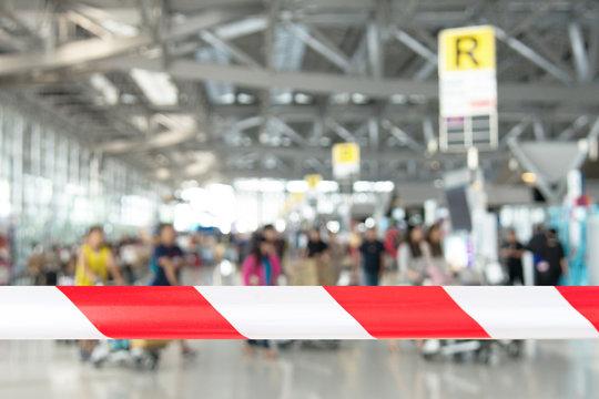 Covid-19 corona virus outbreak concept.Airport security forbidden sick tourist at airport terminal for security check prevent corona virus epidemic