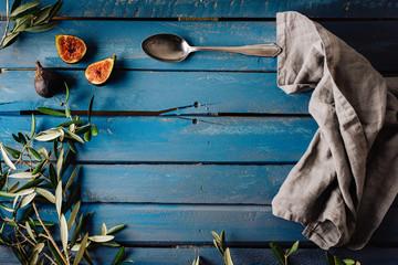 Blauer Holztisch table top
