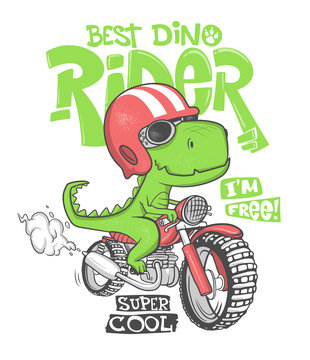 Dinosaur riding a motorbike vector print design