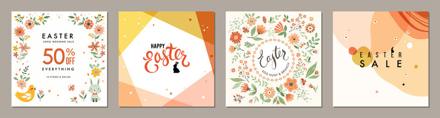 Trendy Easter square templates. Suitable for social media posts, mobile apps, cards, invitations, banners design and web/internet ads.