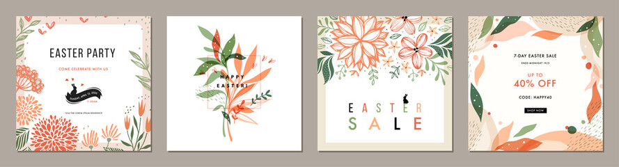 Trendy Easter floral square templates. Suitable for social media posts, mobile apps, cards, invitations, banners design and web/internet ads.