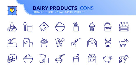 Simple set of outline icons about dairy products.