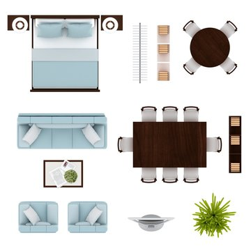 Furniture set. Blue living room set, bed, round dining table, square dining table, bookshelves, tv, clothing rack top view. Furniture icons isolated on white background 3D illustration.