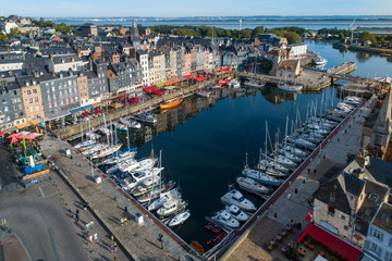 France, Normandy, Aerial view of Honfleur and its picturesque harbour, old basin and the quai Sainte Catherine Fotomurales
