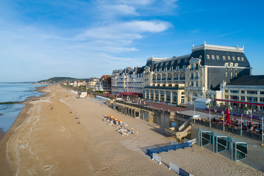 France, Normandy, Aerial view of Cabourg