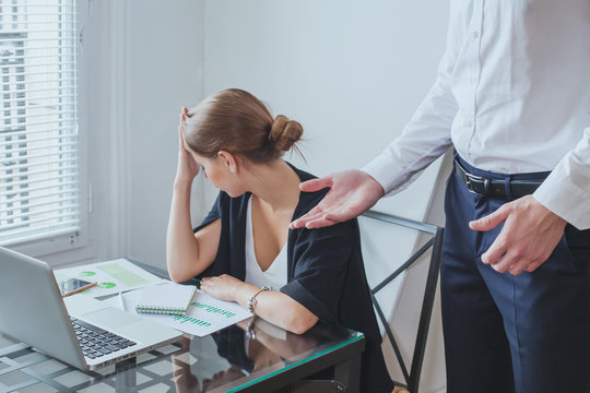 stressful job, angry boss and tired unhappy woman employee, stress at work