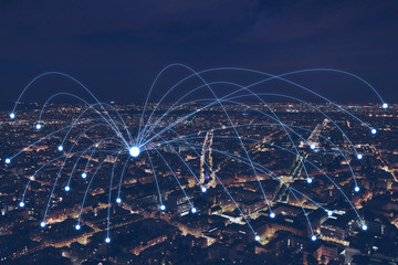network communication or distribution concept, connection line from central point over night city Wall mural