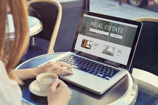 real estate concept, buy or rent apartment or house, choose new home in agency online