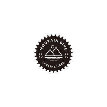 bicycle mountain sprocket crank badges logo and labels icon vector illustration.