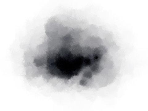 Indigo Dark Blue Scumbled Ink Watercolour on White Background