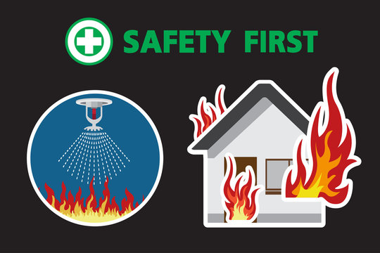 House On Fire,fire sprinkler ,Firefighter Vector, safety first