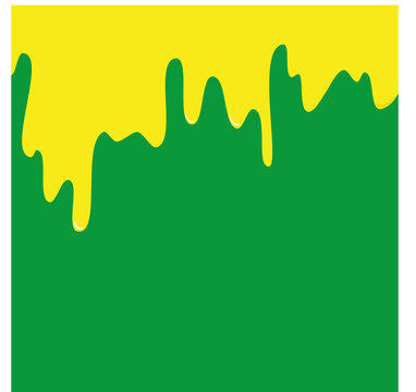 Yellow paint drops, green background, vector illustration, expressive background with paint drops on the wall