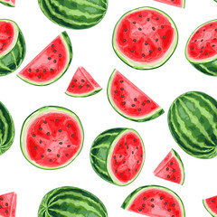 Seamless pattern with watermelons and slices.