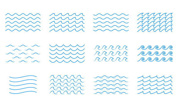 Wave line icon set. Water outline symbol. Sea and Ocean signs. Vector illustration.