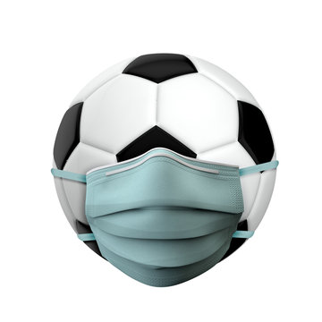 Football sports ball wearing a medical protective mask. 3D Render