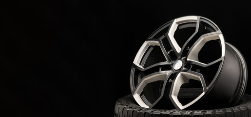 aluminum alloy wheel. Premium cast, the design of the spokes and the wheel rim, a white and black...