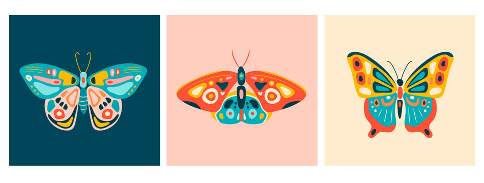 Hand drawn beautiful Butterflies. Colorful Vector illustrations. Top view. Pastel colors. Set of three Pre made cards. Every illustration is isolated