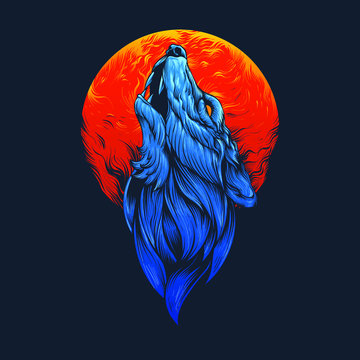 Blue wolf head illustration