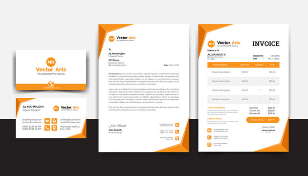 Modern stationery pack with Business Card, Letterhead, Invoice Template, Simple and clean stationery pack