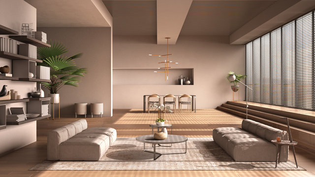 Modern living room in beige tones, hall, open space with parquet oak floor with steps, sofa, carpet and coffee tables, dining table with chairs and lamps, minimal interior design