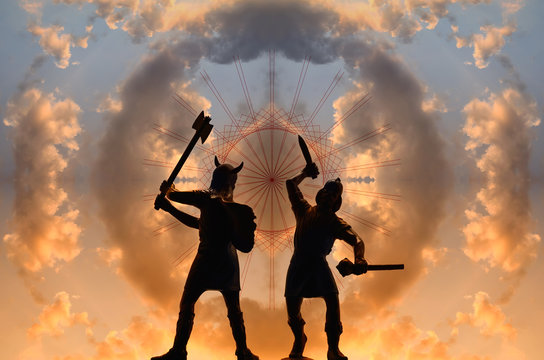 Two silhouettes of armed Old Norse Gods who are fighting in guise of Vikings against sunset sky with circle of clouds and red decorative pattern, creative illustration