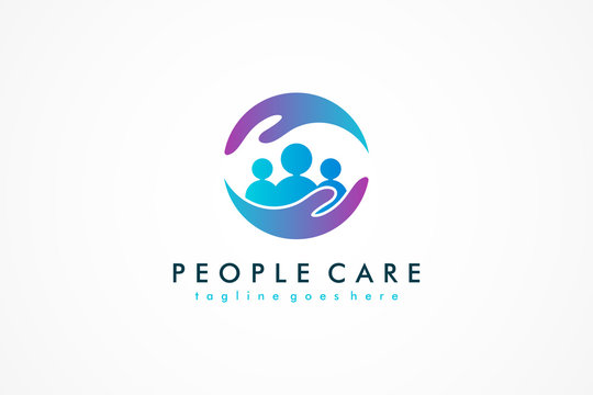 Abstract People Care Logo. Human Icon with Circular Two Hands Symbol. Flat Vector Logo Design Template Element.