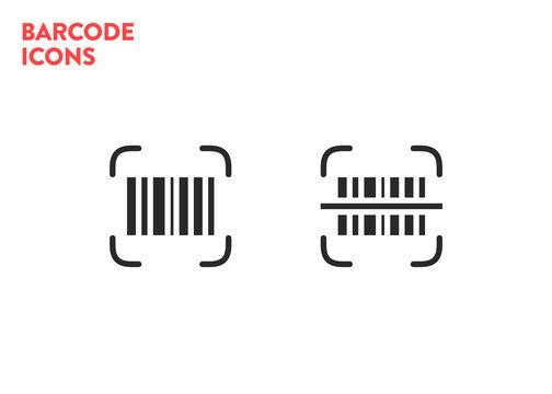 Barcode scaning icons set. Vector bar code