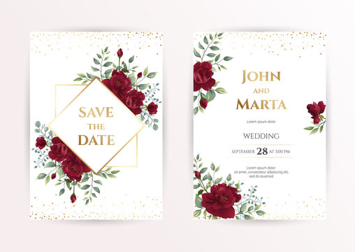 wedding invitation card with red roses, watercolor, leaves and golden geometric frame. Floral Trendy templates for banner, flyer, poster, greeting. Vector illustration. eps10