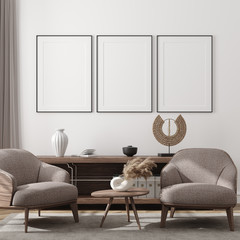 Wall Mural - Mockup poster in modern living room interior background, 3D render