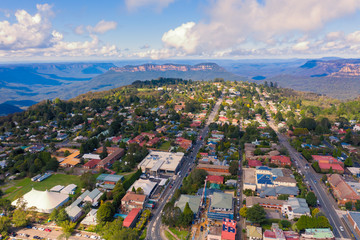 Aerial view of Katoomba and The Blue Mountains in Australia