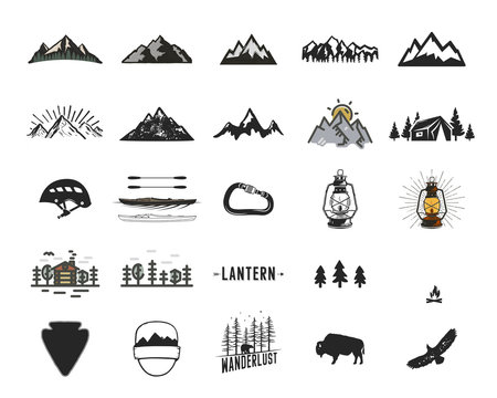Vintage camping icons and adventure symbols illustrations set. Hiking shapes of mountains, trees, wild animals and others. Retro monochrome design. Can be used for t shirts, prints. Stock