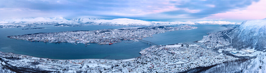 Fotobehang Noord Europa Panoramic view of Tromso city Norway at daytime in the winter