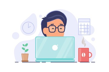 Freelncer concept composition. Remote worker vector illustration. Man in glasses working on compoter with cup of coffee and home plant on the table. Vector illustration isolated on white.
