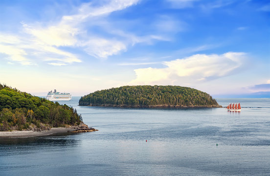 Panoramic view of Bar Harbor with cruise ship,sailboat and cluster of small islands in Acadia National Park, Maine USA
