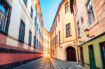 Foto op Aluminium Praag Street with old buildings in Old Town of Prague, Czech Republic. Famous travel destination