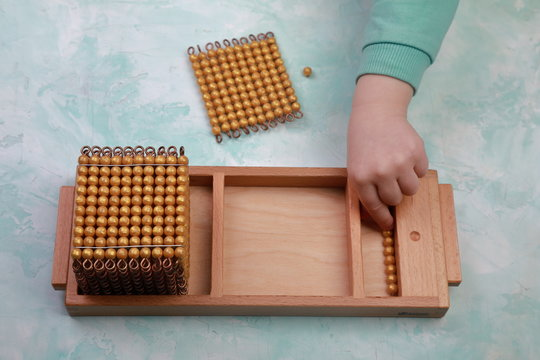 montessori golden material mathematics number decimal system number unit ten hundred and one thousand
