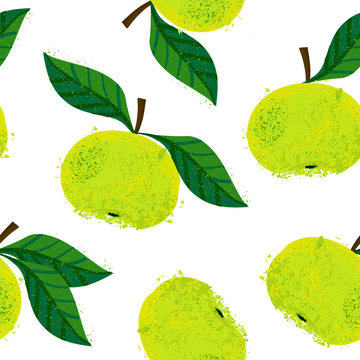 Vector pattern of watercolor green apple, hand drawn