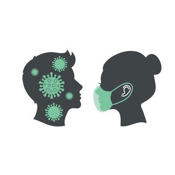 Girl and guy in medical masks, virus.
