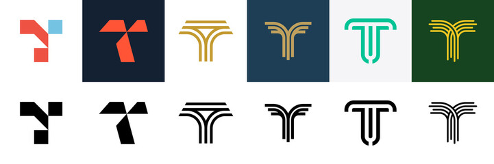 Set of letter T logo. Icon design. Template elements - Collection of vector sign